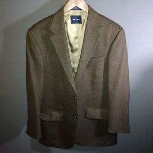 38R Nautica brown wool 2 button Blazer jacket